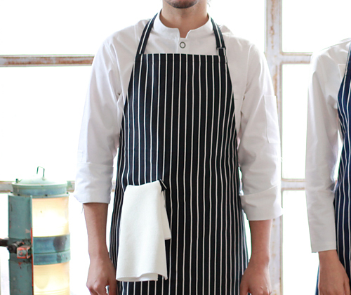 (AA1410) striped chest apron - black