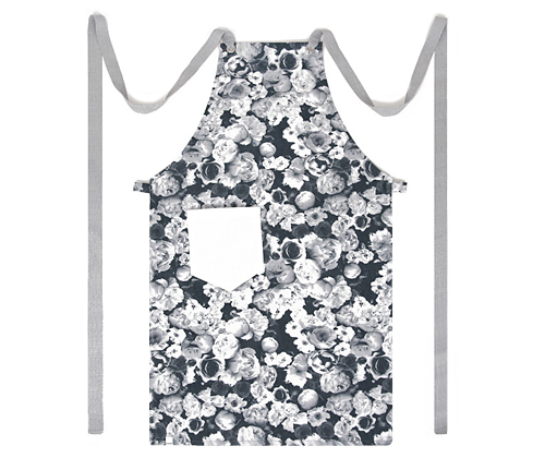 (AA1609) floral chest apron - grey