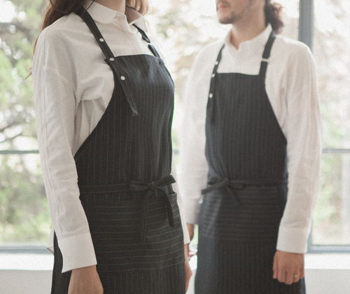 modern pin striped apron navy #AA1702