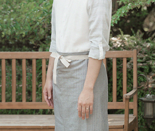 natural linen striped apron light grey #AA1696