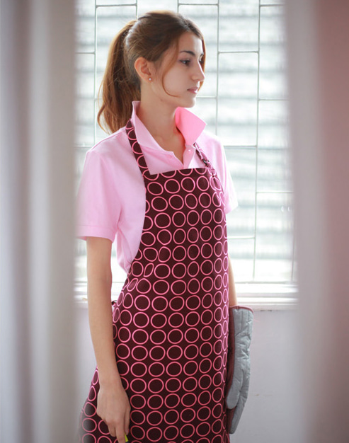 #AA1413 Circle chest Apron Purple