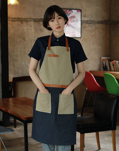 (AA1514) denim canvas leather apron - multi