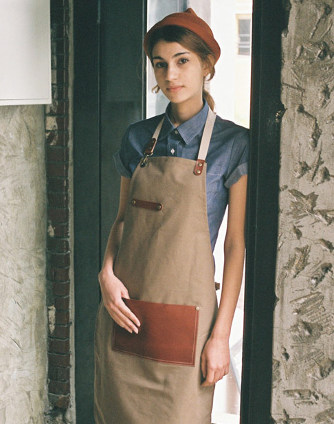 (AA1524) leaf real cow leather apron - beige