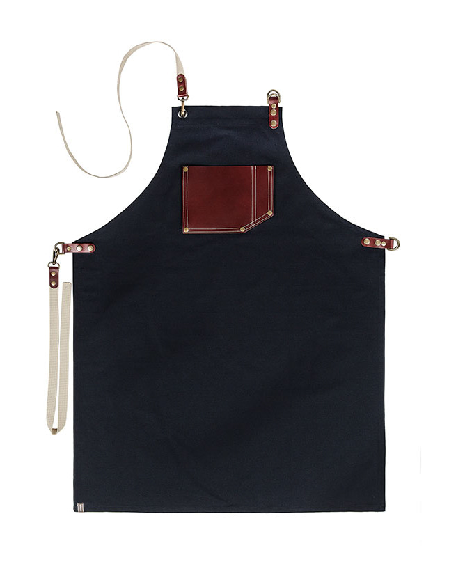 (AA1549) roco real cow leather apron - navy