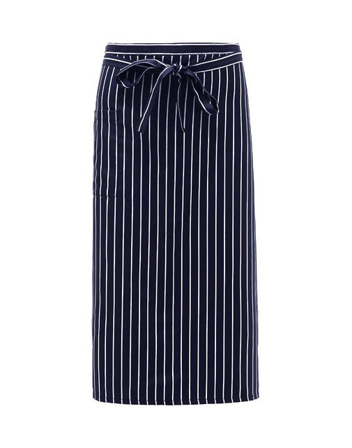 (AA1575) long striped apron - navy