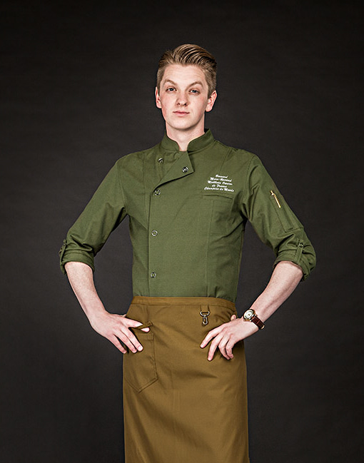 (AJ1643) british organic chef jacket - khaki