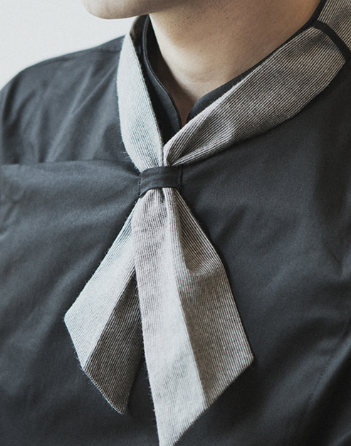 the striped chef scarf charcoal #AA1457