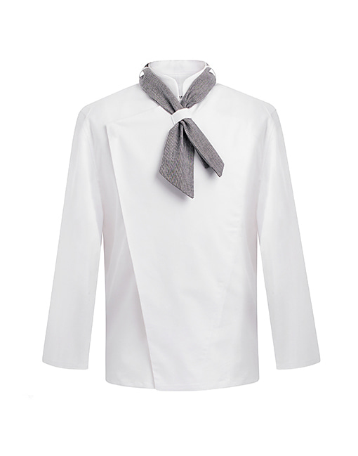 (AJ1459) scarf slim chef jacket set - white