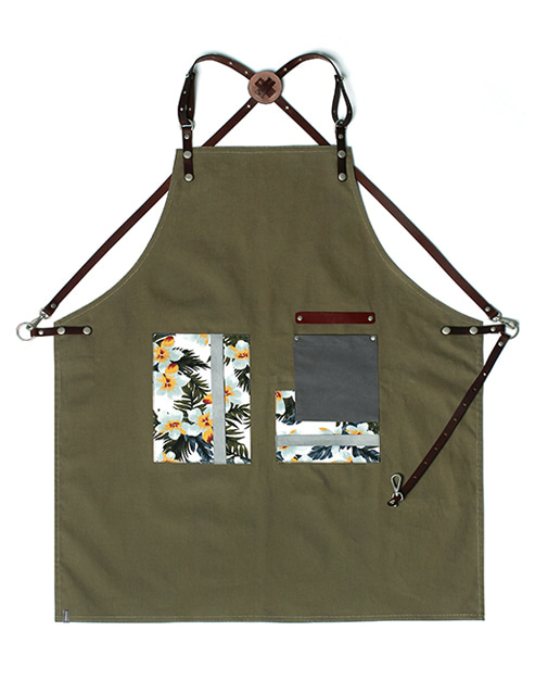 #AA1834 flower pattern canvas leather apron khaki