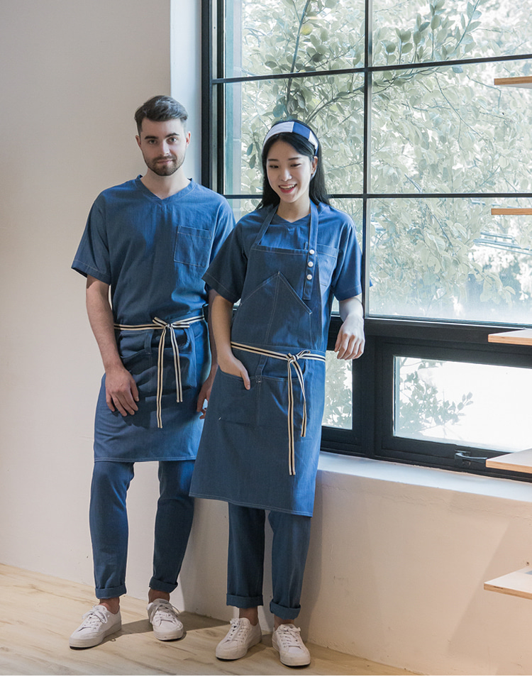Denim loose poket chest apron #AA1848