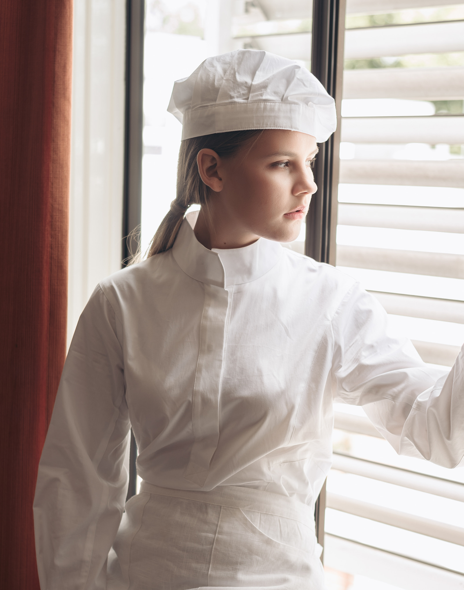 Thin pintuck chef hat #AH1871 white