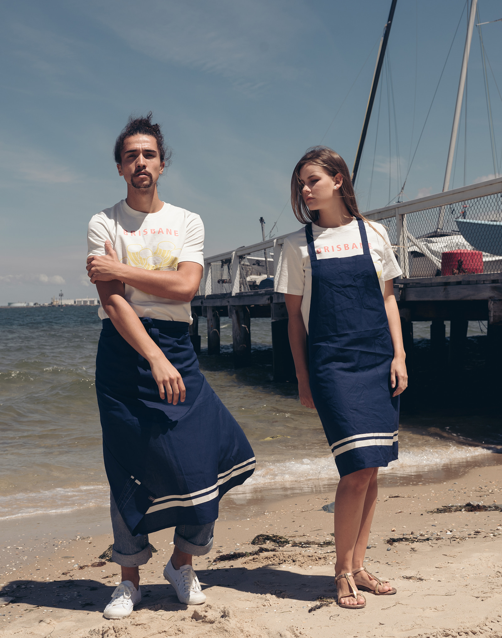 Soft linen Y-strap apron #AA1891 navy