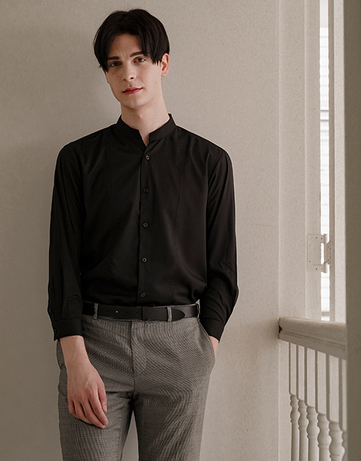 notch neck wrinkle-free stretch shirts #AS1925 black