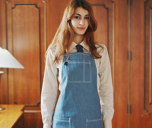 (AA1404) basic denim apron - medium blue