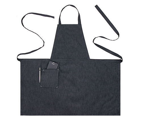 (AA1407) stone denim chest apron - grey