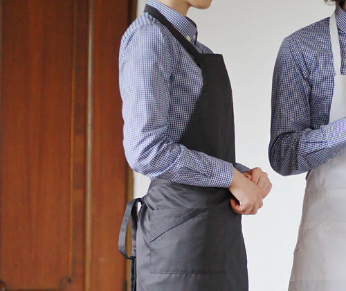 #AA1414 Basic chest Apron Grey