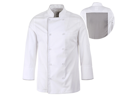(AJ1584) bamboo moisture chef jacket - white