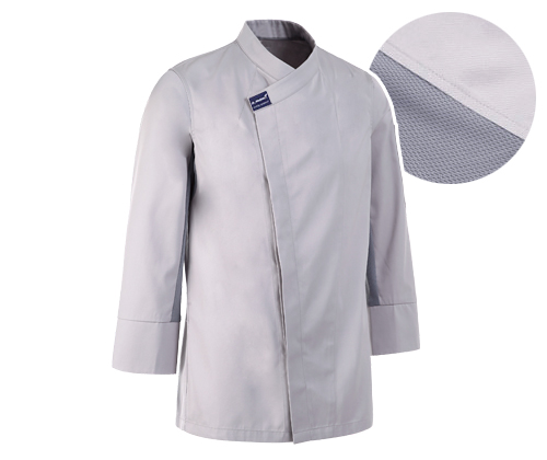 (AJ1587) hidden cool mesh point chef jacket - grey