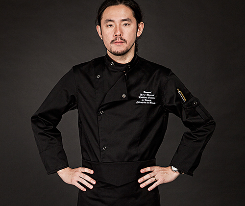 (AJ1304) classical chef jacket - black