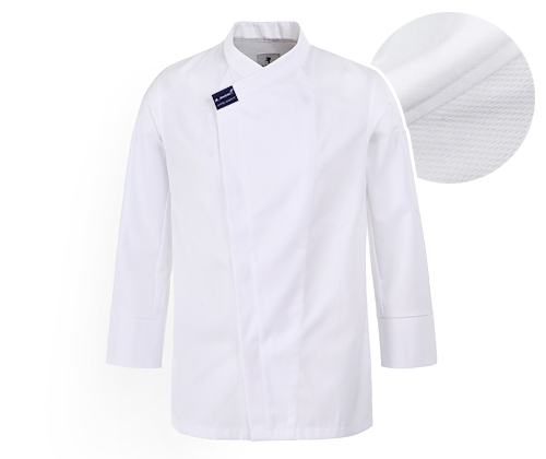 (AJ1587) hidden cool mesh point chef jacket - white
