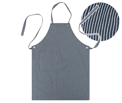 (AA1306) natural striped canvas apron - navy