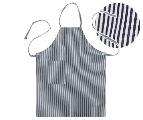 (AA1307) natural striped canvas apron - white