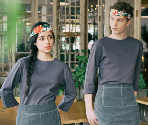 boat-neck washing cotton round tee dark grey #AT1755