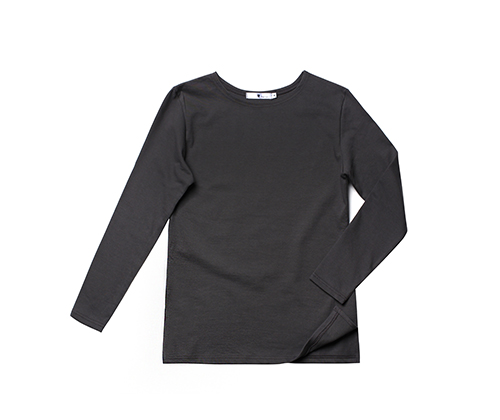 #AT1755 boat-neck washing cotton round tee Long sleeve type