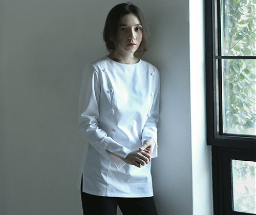 #AJ1824 boat neck slim chef coat