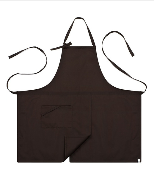 (AA1414) basic chest apron - brown