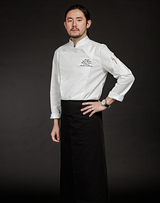 (AJ1455) slim chef jacket - white