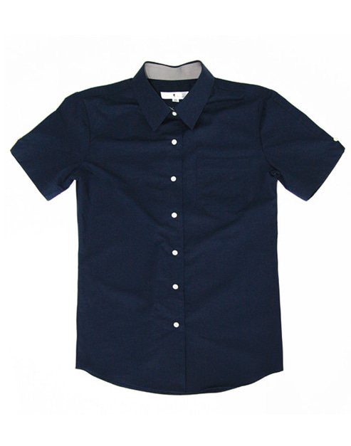 Bio Washing 1/2 Shirts Navy #As1519