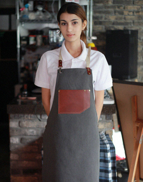(AA1531) vintage real cow leather apron - grey