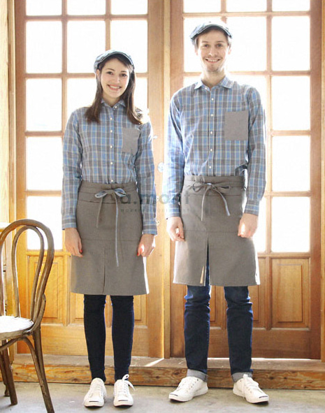 (AA1606) tartan check point apron - grey