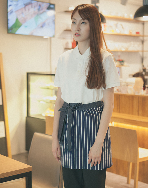 Denim Point Striped Apron Navy #AA1615