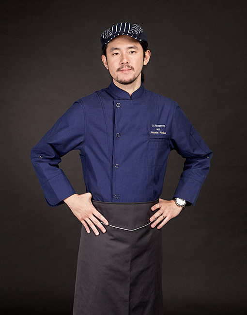 (AJ1645) british oragnic chef jacket - deep blue
