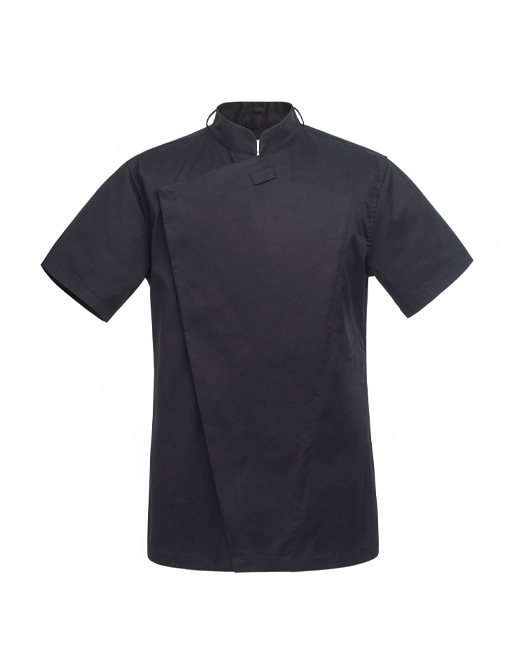 (AJ1555) slim 1/2 chef jacket - black