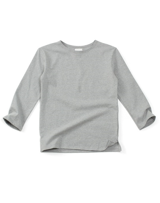boat-neck washing cotton round tee grey #AT1780