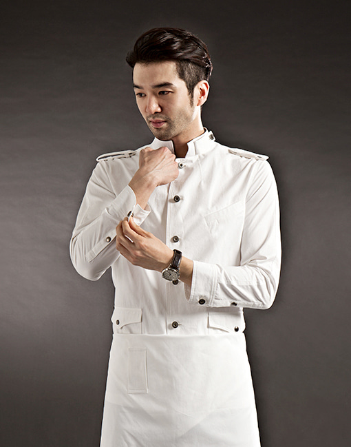 (AJ1739) A-Low chef coat - white