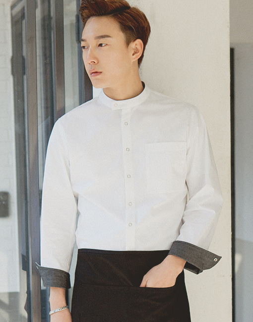 (AJ1742) Bio washing single chef coat - white