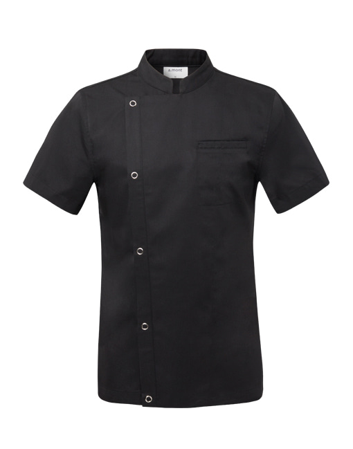 (AJ1528) basic 1/2 chef jacket -black