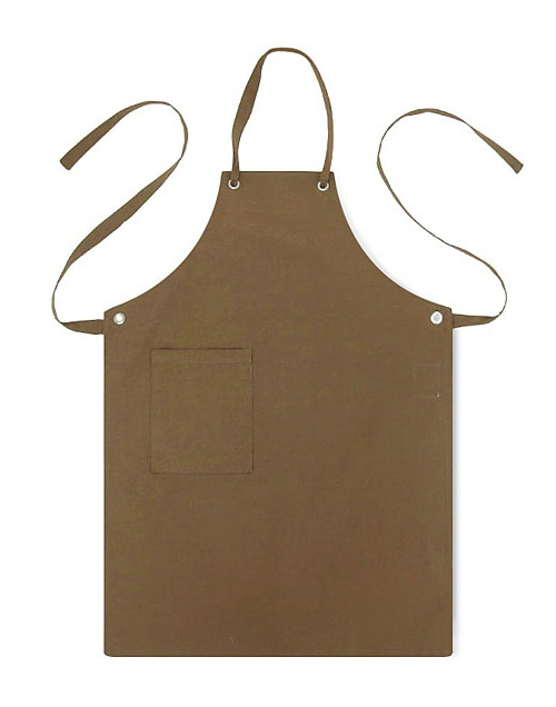 (AA1305) canvas basic apron - brown