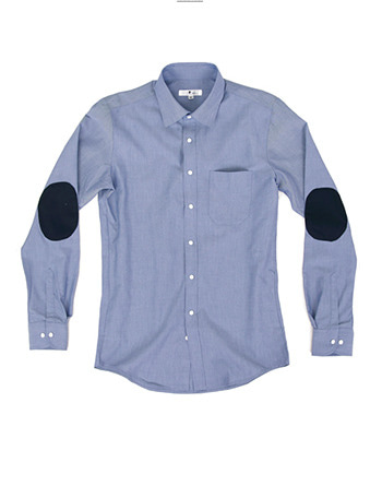 Oxford Elbow-patch Shirt Blue #AS1614