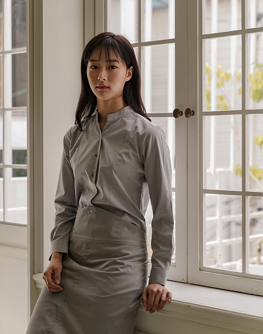 notch neck wrinkle-free stretch shirts #AS1925 grey