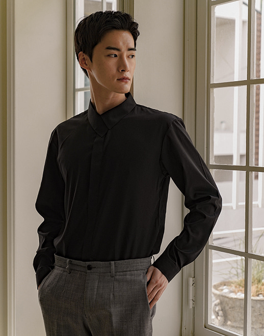 side covered collar cotton stretch shirts #AS1932 black