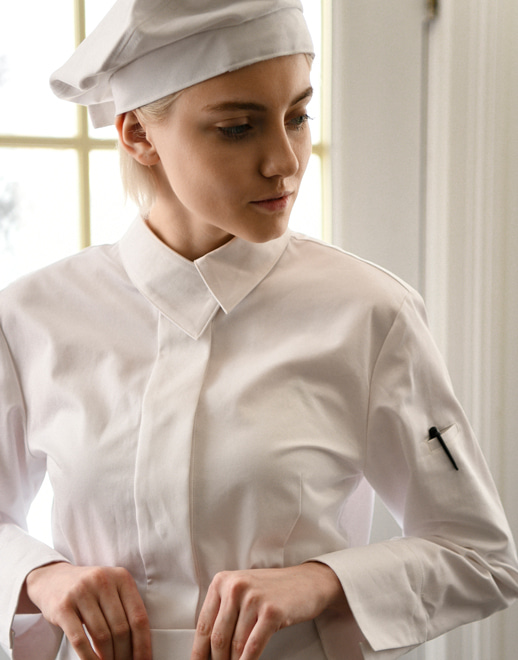 covering collar women chef coat #AJ1941