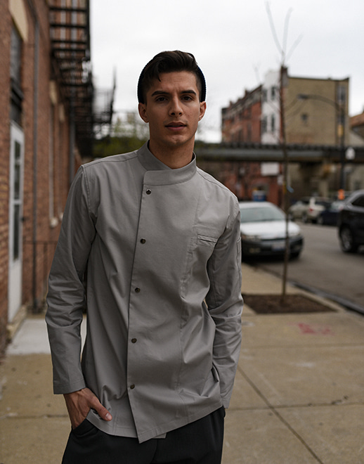 Snap point stretch chef coat #AJ1940 grey