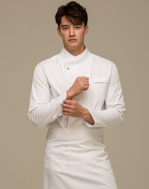 Snap point stretch chef coat #AJ1940 white