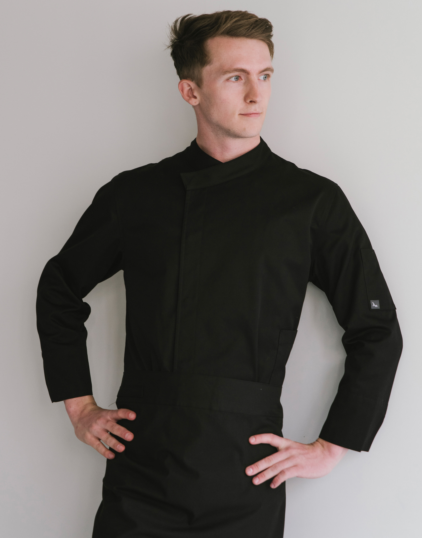 signature back side cooling nine-part chef coat #AJ1972 black