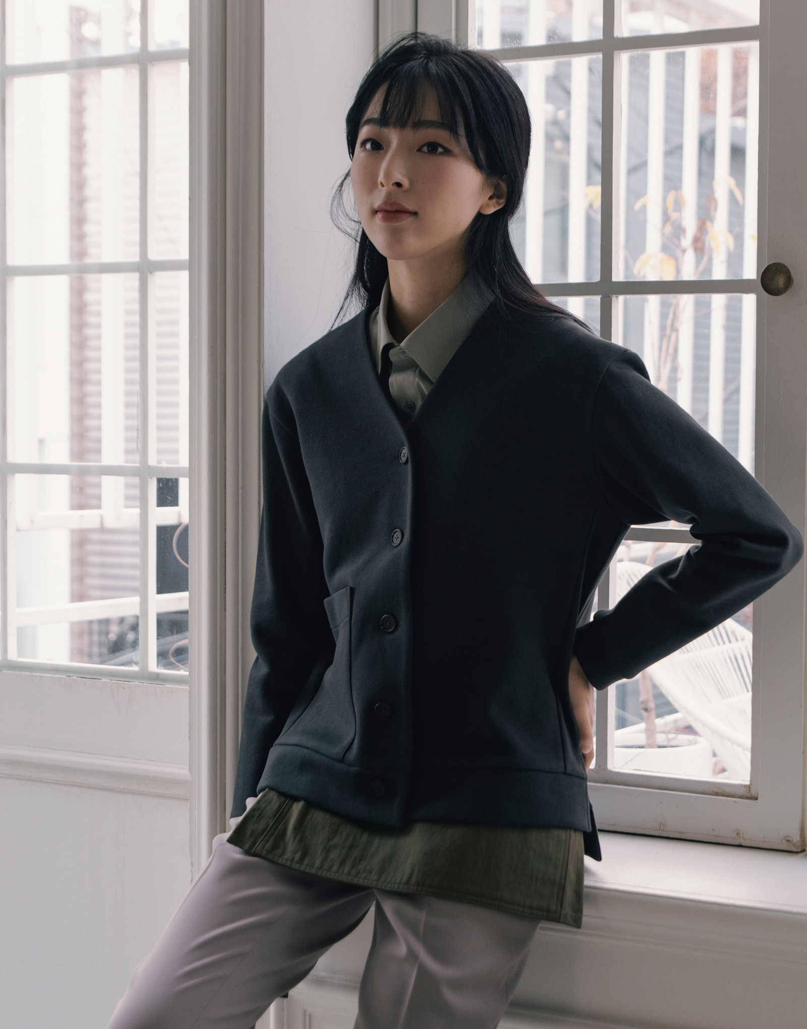 side slit cotton oxford warm cardigan #AC1975 darkgrey
